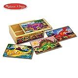 "Melissa & Doug Dinosaur Jigsaw Puzzles in a Box (Four Wooden Puzzles, Beautiful Artwork, Sturdy Wooden Storage Box, 12 Pieces, 8"" H x 6"" W x 2.5"" L)"