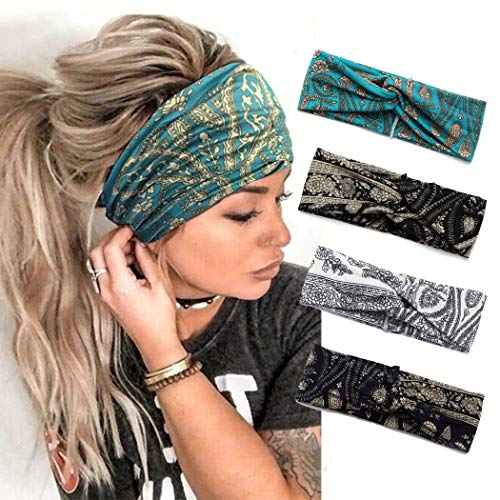 Catery Boho Headbands Criss Cross Headband Headpiece Bohemia Floal Twist Head Wrap Hair Band Vintage Stylish Elastic Turban Fabric Hairbands Fashion Hair Accessories for Women(Pack of 4) (Vintage-4 Pack)