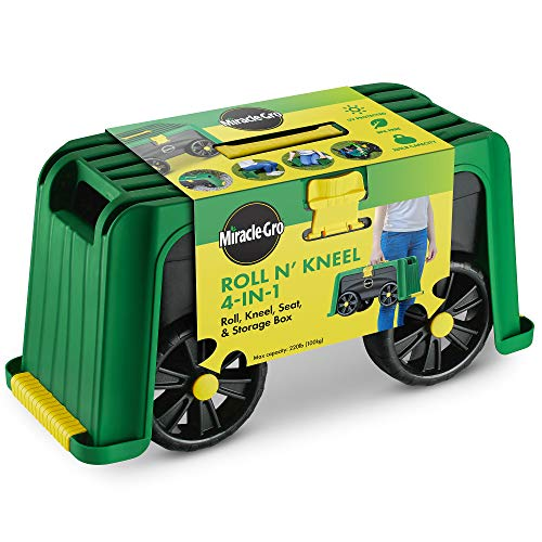 Miracle-Gro 4-in-1 Garden Stool - Multi-Use Garden Scooter with Seat - Rolling Cart with Storage Bin - Padded Kneeler and Tool storage - Accessible Gardening for All Ages + FREE Scotts Gardening Glove