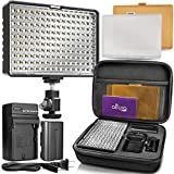 Altura Photo 160 LED Video Light for DSLR Camera and Camcorder Complete Kit - Ultra Bright Dimmable with Battery, Charger, Filters, and Carry Case (Canon, Nikon, Panasonic, Sony, Samsung, Olympus)