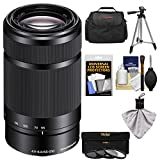 Sony Alpha E-Mount 55-210mm f/4.5-6.3 OSS Zoom Lens (Black) with 3 Filters + Case + Tripod Kit for A5100, A6000, A6300, A6500 Cameras