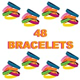 48 Inspirational Bracelets for Kids, Teens, and Adults | Motivational Sayings Rubber Bracelets for the Classroom, School, Church, Senior Centers | Great Party Favors, Classroom Prizes for Boys and Girls