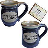 Grandparents Coffee Cup Novelty Gift and card from Grandchild for Grandma and Grandpa Couples Best ... (gray, 2)