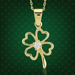 Four Leaf Clover Pendant in a radiant background