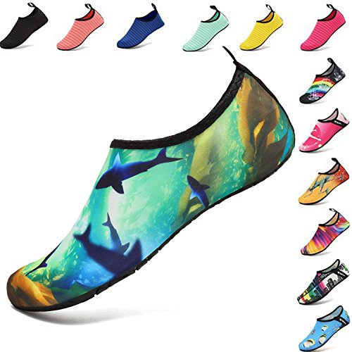 VIFUUR Water Sports Shoes Barefoot Quick-Dry Aqua Yoga Socks Slip-On for Men Women Kids Ocean-40/41