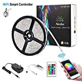 Nexlux Led Light Strip, WiFi Wireless Smart Phone Controlled 32.8ft Strip Light Kit White PCB 5050 LED Lights,Working with Android and iOS System,IFTTT