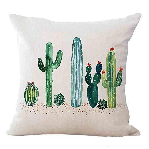 Qinqingo Tropical Succulent Plants Cactus Decorative Cushion Cover Cotton Linen Square Throw Pillow Covers Sofa Car Decoration 18 x 18 Inches (SC02)
