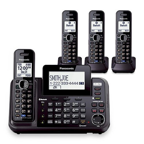 Panasonic KX-TG9542B Dect 6.0 2-Line Cordless Phone w/ Link-to-Cell & 2-Handsets + 2-Pack 2 Line Handset For KX-TG954X