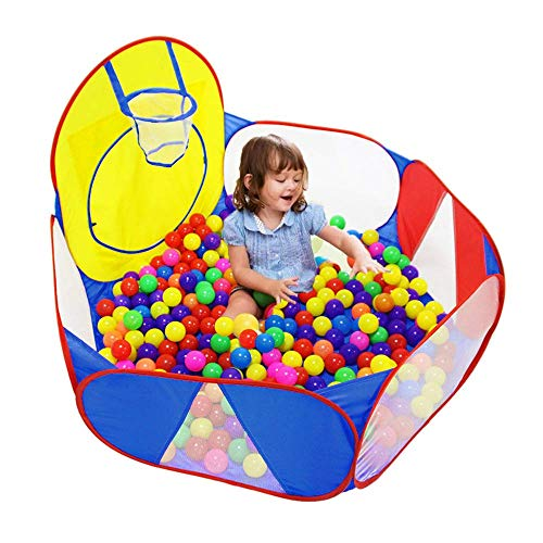 Eocolz-Kids-Ball-Pit-Large-Pop-Up-Childrens-Ball-Pits-Tent-for-Toddlers-Playhouse-Baby-Crawl-Playpen-with-Basketball-Hoop-and-Zipper-Storage-Bag-4-Ft120CM-Balls-Not-Included