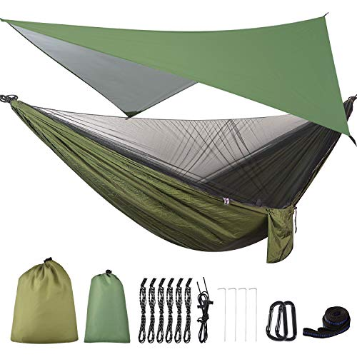 FIRINER Camping Hammock with Mosquito Net & Rainfly Tent Tarp & Tree Straps...