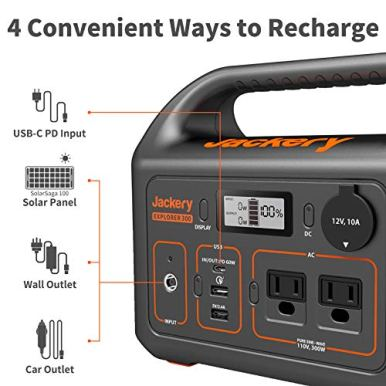 Jackery-Portable-Power-Station-Explorer-300-293Wh-Backup-Lithium-Battery-110V300W-Pure-Sine-Wave-AC-Outlet-Solar-Generator-Solar-Panel-Not-Included-for-Outdoors-Camping-Travel-Hunting-Blackout