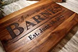 Personalized Cutting Board for Wedding: or Anniversary Gifts - Wooden Serving Board for Meat or Cheese - The Greatest Wedding Gift With Matching Glassware, Serving Tray, and Coasters as options!