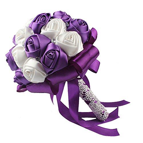 Ourwarm Handmade Satin Roses White Beige Crystal Brooch Bridal
