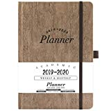 2019-2020 Academic Planner - Weekly & Monthly Planner with Tabs + Cork Smooth Leather with Pen Holder and Thick Paper, Back Pocket with 79 Notes Pages + Gift Box - 5.75' x 8.25'