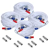 SANNCE 4-Pack 100ft BNC Video and Power Security Camera Cable with BNC Connectors and RCA Adapters For CCTV Camera System (White)