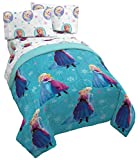 Jay Franco Disney Frozen Swirl 5 Piece Full Bed Set - Includes Reversible Comforter & Sheet Set - Bedding Features Elsa & Ana - Super Soft Fade Resistant Polyester - (Official Disney Product)