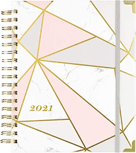 "2021 Planner - Weekly & Monthly Planner with Tabs + Luxury Vegan Leather and Thick Paper, Back Pocket with 15 Notes Pages + Gift Box - 8.25"" x 9.25"" 1"