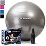 DYNAPRO Exercise Ball - 2,000 lbs Stability Ball - Professional Grade – Anti Burst Exercise Equipment for Home, Balance, Gym, Core Strength, Yoga, Fitness, Desk Chairs (Silver, 55 Centimeters)