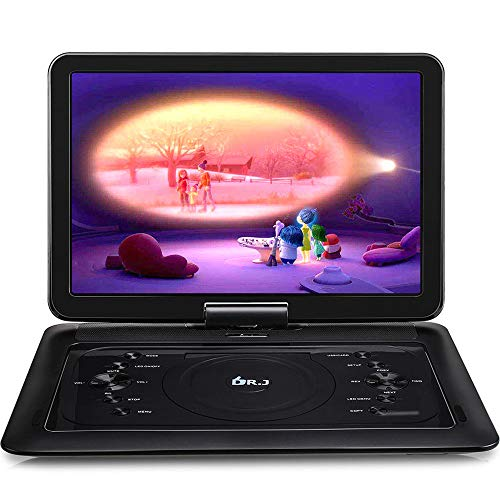 DR. J 16.8 Inch Region Free Portable DVD Player with AV Cable Sync TV Function and 7 Hours Rechargeable Battery and Car Charger Wall Charger, Swivel Screen Support SD Card and 2.0 USB Remote Control
