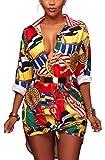 Speedle Women's Lapel Button Down Retro Long Sleeve Blouse Floral Print Party Top Shirt Dress S
