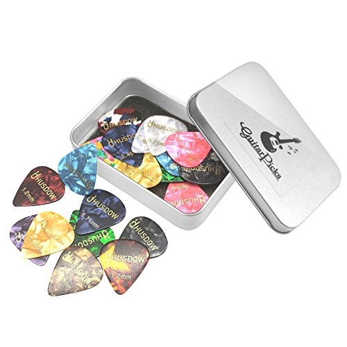 20pcs-Guitar-Picks-HusDow-Guitar-Plectrums-Celluloid-Pick-for-Electric-Acousticor-Bass-Guitar-including-046mm-071mm-081mm-096mm-12mm