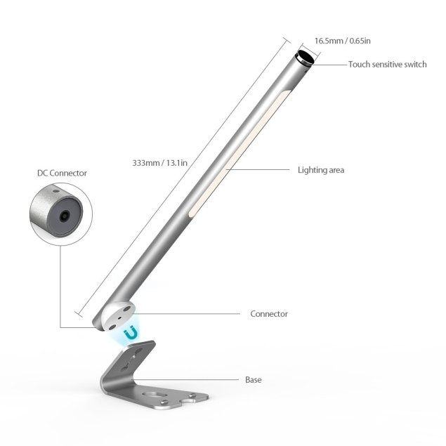 dodocool デスクランプ、テーブルランプ、目に優しいタッチセンサーLED 光の輝度が最高から最下位に無段階に調整可能