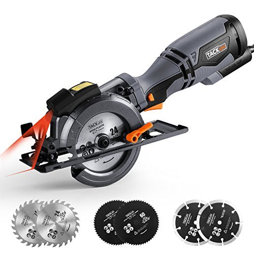 "TACKLIFE Circular Saw with Metal Handle, 6 Blades(4-3/4' & 4-1/2""), Laser Guide, 5.8A, Max Cutting Depth 1-11/16'' (90°), 1-3/8'' (0°-45°), Ideal for Wood, Soft Metal, Tile and Plastic Cuts - TCS115A"
