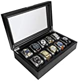 HOUNDSBAY Mariner Watch Box Display Case   Luxury Carbon Fiber Pattern Interior with 10 Wide Watch Slots to Hold Big Face Watches (Black)