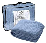 HILLFAIR 100% Soft Premium Combed Cotton Thermal Blanket– Queen Blankets– Soft Cozy Warm Cotton Blanket– Bed Throw Blanket– Queen Bed Blankets– All Season Cotton Blanket– Blue Queen Cotton Blankets