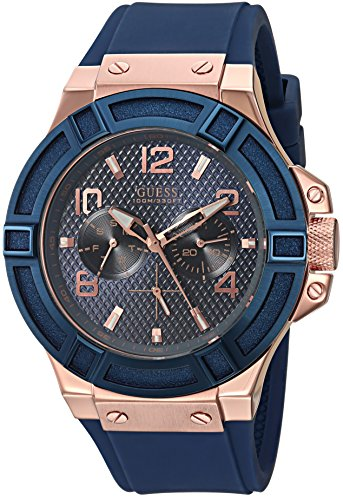 51HU3nDudDL Rose gold-tone watch featuring blue top ring and textured blue dial with day, date, and 24-hour subdials 46 mm rose-gold case with mineral dial window Quartz movement with analog display