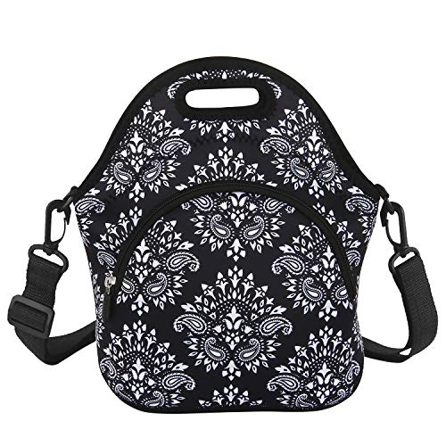 Classic Lunch Bag with Zipper Pocket and Adjustable Detachable Strap Black Neoprene Lunch Box Insulated Waterproof bags School Travel Picnic Office Lunch Tote for Women Adults Students