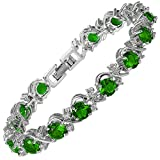RIZILIA Blossom Round Simulated Green Emerald and White Cubic Zirconia 18K White Gold Plated Tennis Bracelet, 7'