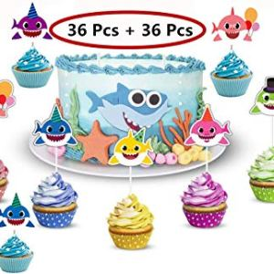36Pcs Shark Cupcake Toppers with 36Pcs CupcakeLiners Shark Theme Party Supplies Cute Shark Family Baby Shower Birthday Party Decorations 51HZdhdwiAL