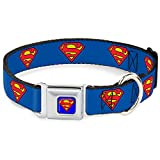 Dog Collar Seatbelt Buckle Superman Shield Blue 9 to 15 Inches 1.0 Inch Wide