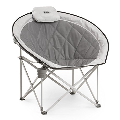 CORE 40025 Equipment Folding Oversized Padded Moon Round Saucer Chair with Carry Bag, Gray