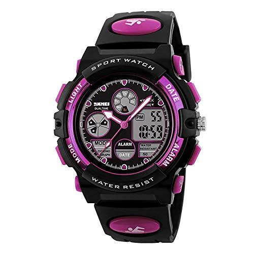 Kids Digital Sport Watch, Boys Girls Waterproof Sports Outdoor Watches Children Casual Electronic Analog Quartz Wrist Watches with Alarm Stopwatch (Purple)