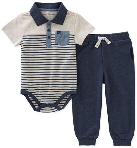 Calvin Klein Baby Boys 2 Pieces Creeper Pant Set Oatmeal