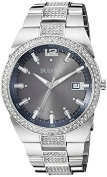 Bulova Men's 96B221 Crystal Analog Display Japanese Quartz Silver Watch