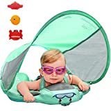 PRESELF Baby Solid Folat with Canopy Safety Aquatics Floating Ring Fit Infant Toddler Swimming Pool Swim School Training (Green)