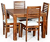 MH Decoart Sheesham Wood 4 Seater Dining Table Set with 4 Chair for Dining Room (Teak Finish)