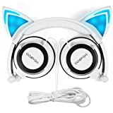 Cat Ear Headphones Kids Headset Flash Glowing Cosplay Fancy Foldable Over-Ear Gaming Earphone with LED Flash light for iPhone 6S,Anroid Mobile Phone,PC Laptop Computer