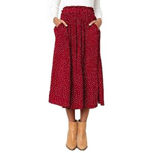 Exlura Womens High Waist Polka Dot Pleated Skirt Midi Swing Skirt with Pockets 21 Fashion Online Shop gifts for her gifts for him womens full figure