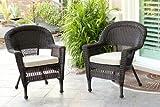 Jeco W00201_2-FS006-CS Wicker Chair with Tan Cushion, Set of 2, Espresso