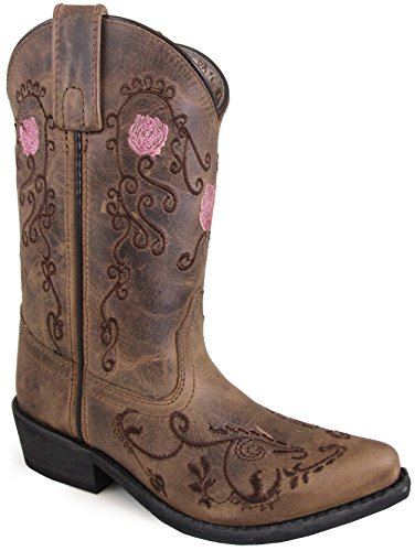 Smoky Mountain Youths' Rosette Pull On Embroidered Floral Snip Toe Brown Oil Distress Boots 5.5M
