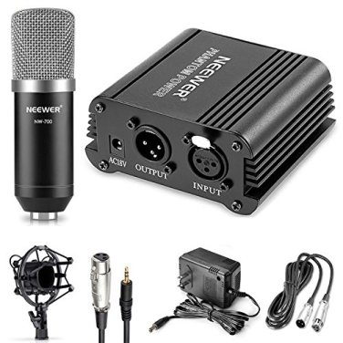Neewer-Microphone-Phantom-Power-Kit-1NW-700-Condenser-Microphone148V-Phantom-Power1Power-Adapter1XLR-Audio-Cable1Shock-Mount1Anti-wind-Foam-Cap1-Microphone-Power-Cable