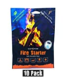 Instafire 10 Pack Fire Starter, AWARDED 2017 FIRE STARTER OF THE YEAR - All Natural, No Harmful Chemicals, Burns up to 1000º for over 10 min. in virtually any condition, lights up to 40 total fires