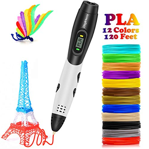 Christmas Gifts 3D Pen with LCD Screen, DigiHero Toys for Kids 3D Pen with 1.75mm PLA Filament Pack of 12 Different Colors, Each Color 10 Feet, 3D Print Pen is Perfect Gift for Kids, Adults