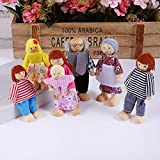 Joyshare Wooden Dollhouse Family Set - 7 Action Figure Dollhouse Set Pretend Play Dolls for Dollhouse, 100% Natural Wood, Nontoxic Paint, Smooth Edges