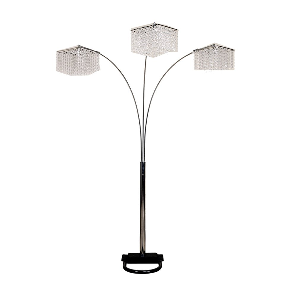 Ore International 6932 84-Inch 3 Light Crystal Inspirational Arch Floor Lamp