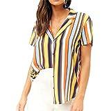 iLOOSKR Summer Shirt for Women Casual Striped Short Sleeve Blouse Tops Yellow